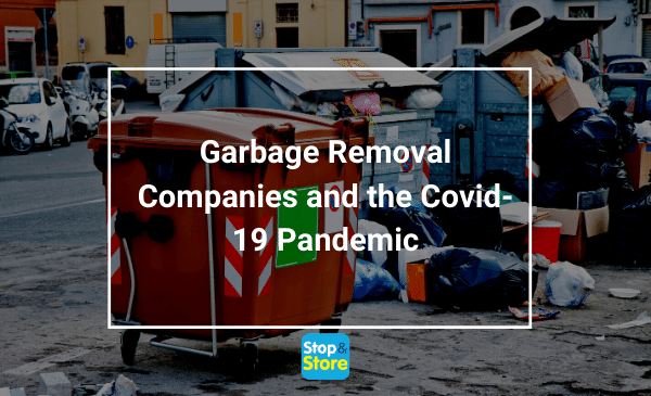 Garbage pile up at garbage dumpster for removal
