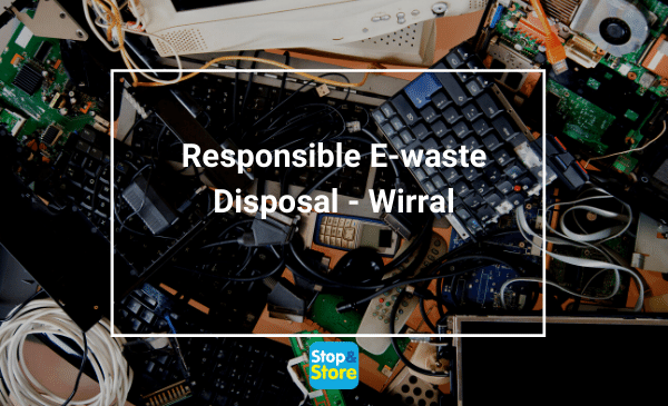responsible e-waste disposal Electronic devices, and electronic parts piled up for sorting to recycle and responsible disposal